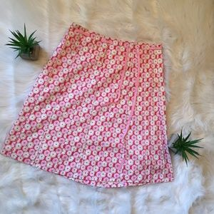 J. Crew Pink Red Daisy Skirt Size 6